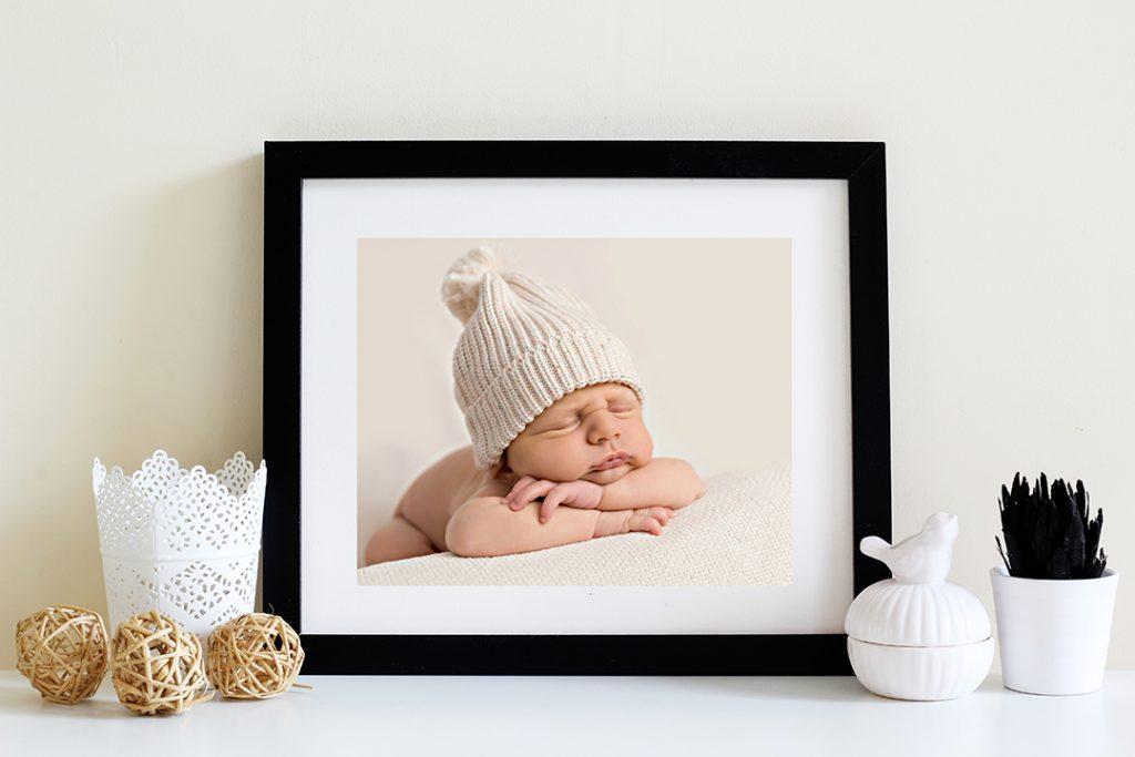 Black Frame with Newborn Baby Sleeping