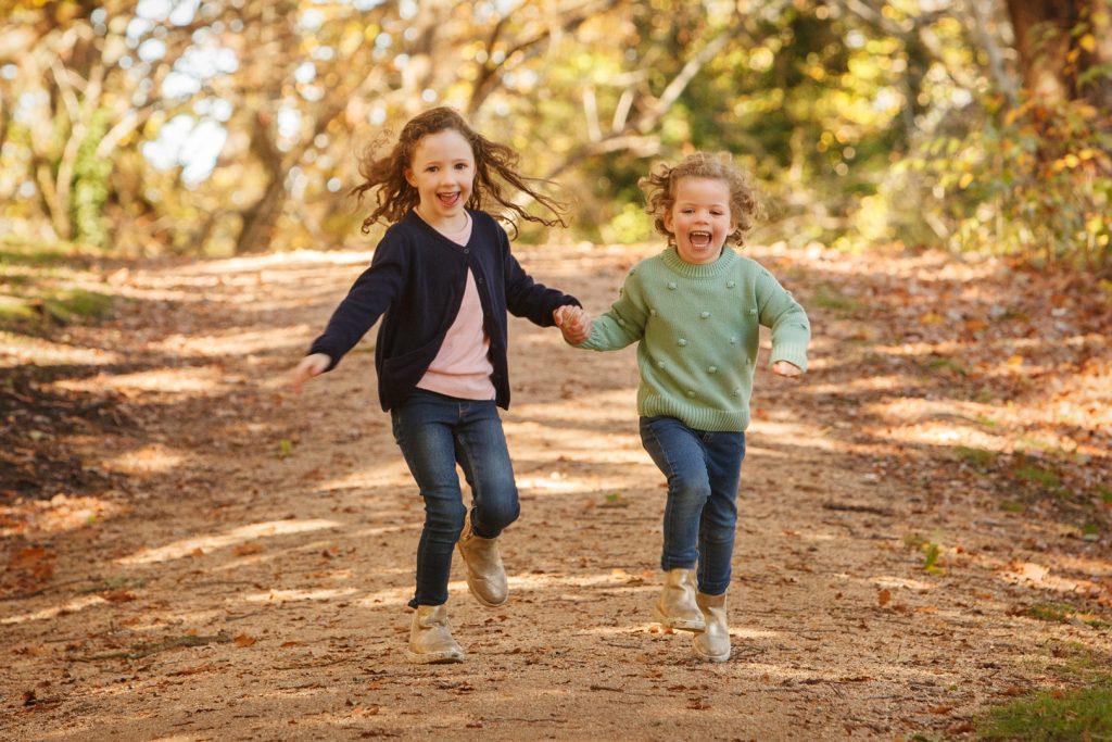 Kids Running in leaves